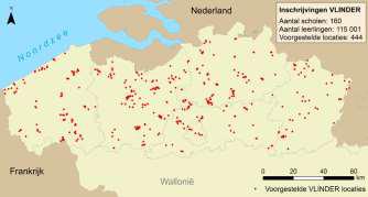 Overzichtskaart met de voorgestelde VLINDER locaties.